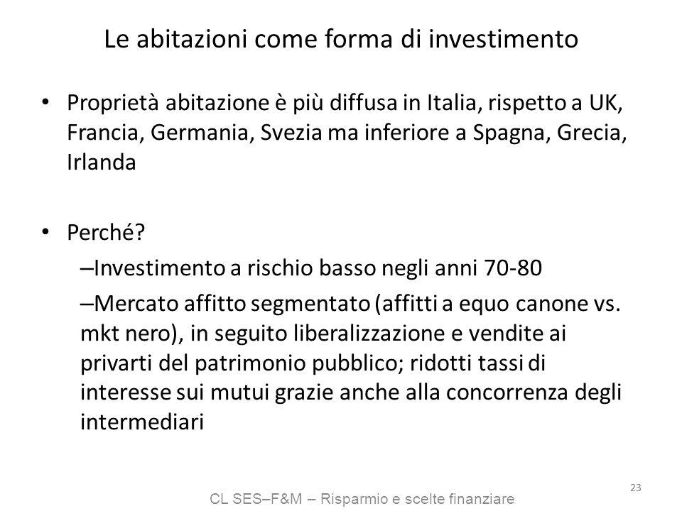 CL SES–F&M – Risparmio e scelte finanziare 23 Le abitazioni come forma di investimento Proprietà abitazione è più diffusa in Italia, rispetto a UK, Fr