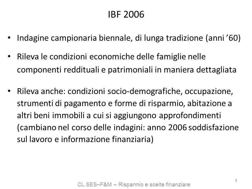 CL SES–F&M – Risparmio e scelte finanziare 33 IBF 2006 Indagine campionaria biennale, di lunga tradizione (anni 60) Rileva le condizioni economiche de