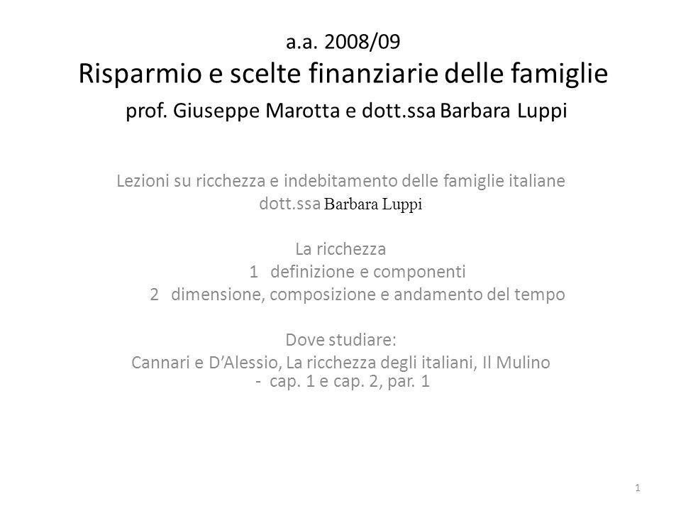 a.a. 2008/09 Risparmio e scelte finanziarie delle famiglie prof. Giuseppe Marotta e dott.ssa Barbara Luppi Lezioni su ricchezza e indebitamento delle