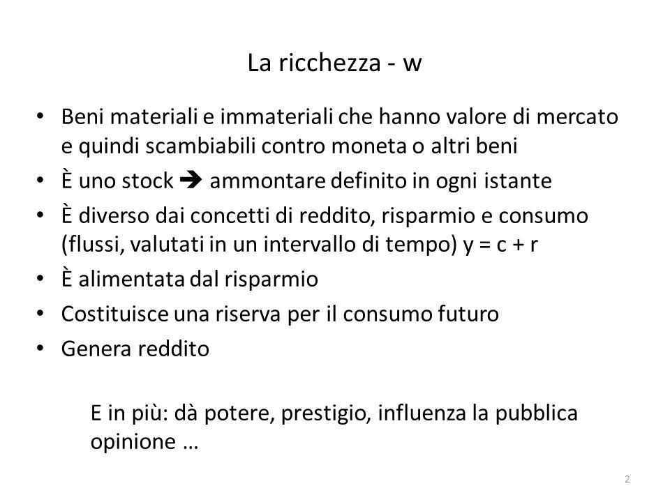 La ricchezza - w Beni materiali e immateriali che hanno valore di mercato e quindi scambiabili contro moneta o altri beni È uno stock ammontare defini