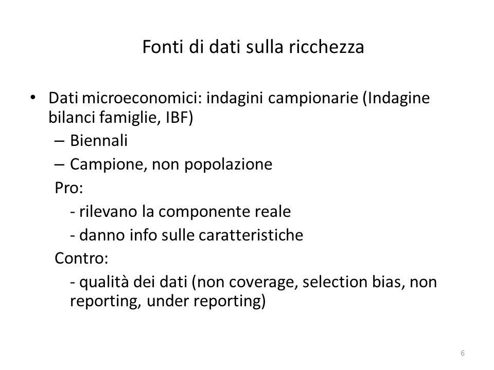 Dati microeconomici: indagini campionarie (Indagine bilanci famiglie, IBF) – Biennali – Campione, non popolazione Pro: - rilevano la componente reale