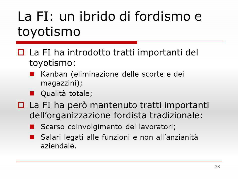 33 La FI: un ibrido di fordismo e toyotismo La FI ha introdotto tratti importanti del toyotismo: Kanban (eliminazione delle scorte e dei magazzini); Q