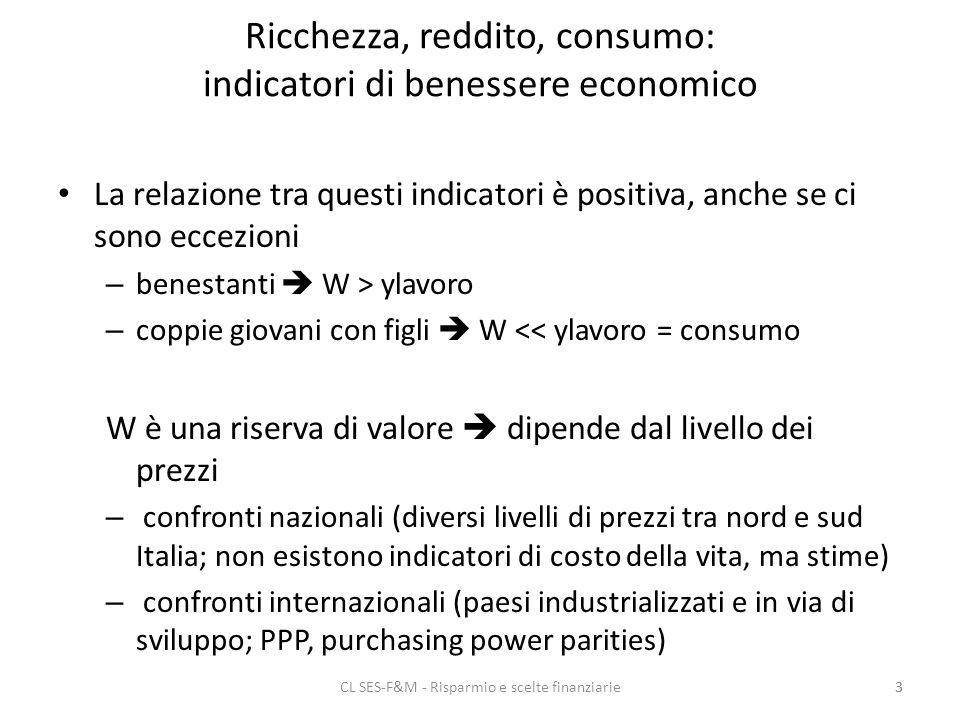 CL SES-F&M - Risparmio e scelte finanziarie3 Ricchezza, reddito, consumo: indicatori di benessere economico La relazione tra questi indicatori è positiva, anche se ci sono eccezioni – benestanti W > ylavoro – coppie giovani con figli W << ylavoro = consumo W è una riserva di valore dipende dal livello dei prezzi – confronti nazionali (diversi livelli di prezzi tra nord e sud Italia; non esistono indicatori di costo della vita, ma stime) – confronti internazionali (paesi industrializzati e in via di sviluppo; PPP, purchasing power parities) 3