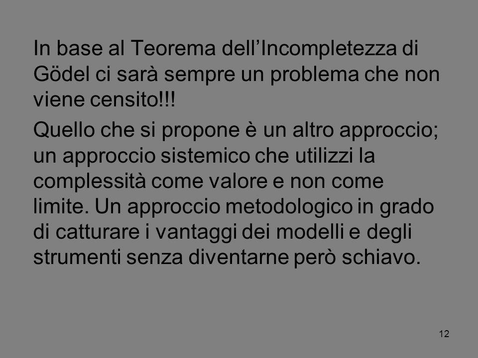 12 In base al Teorema dellIncompletezza di Gödel ci sarà sempre un problema che non viene censito!!! Quello che si propone è un altro approccio; un ap