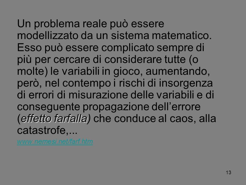 13 effetto farfalla Un problema reale può essere modellizzato da un sistema matematico. Esso può essere complicato sempre di più per cercare di consid