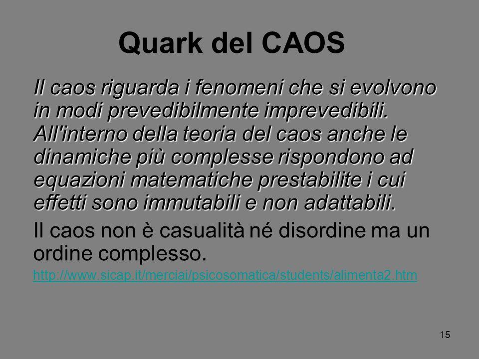 15 Quark del CAOS Il caos riguarda i fenomeni che si evolvono in modi prevedibilmente imprevedibili. All'interno della teoria del caos anche le dinami