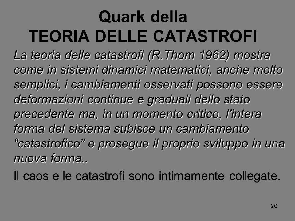 20 Quark della TEORIA DELLE CATASTROFI La teoria delle catastrofi (R.Thom 1962) mostra come in sistemi dinamici matematici, anche molto semplici, i ca