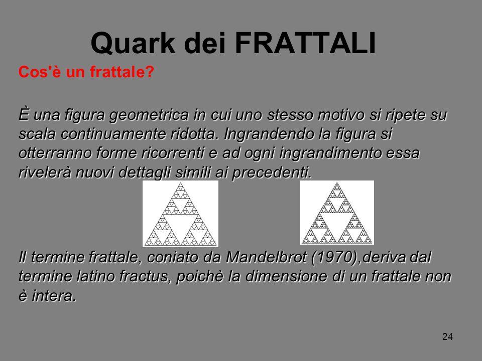 24 Quark dei FRATTALI Cos'è un frattale? È una figura geometrica in cui uno stesso motivo si ripete su scala continuamente ridotta. Ingrandendo la fig