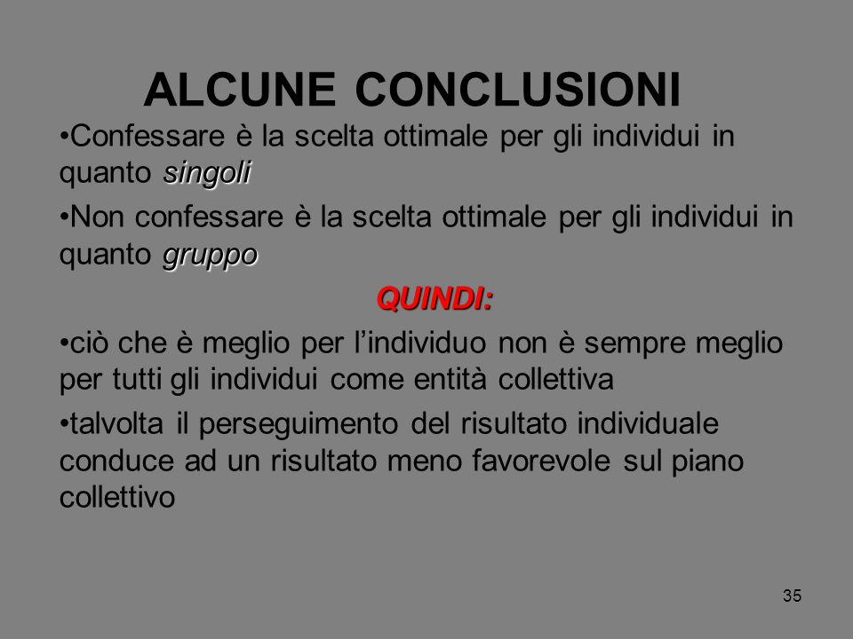 35 ALCUNE CONCLUSIONI singoliConfessare è la scelta ottimale per gli individui in quanto singoli gruppoNon confessare è la scelta ottimale per gli ind
