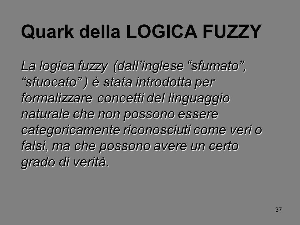 37 Quark della LOGICA FUZZY La logica fuzzy (dallinglese sfumato, sfuocato ) è stata introdotta per formalizzare concetti del linguaggio naturale che