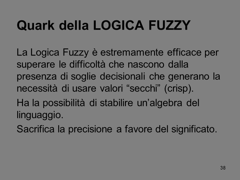 38 Quark della LOGICA FUZZY La Logica Fuzzy è estremamente efficace per superare le difficoltà che nascono dalla presenza di soglie decisionali che ge