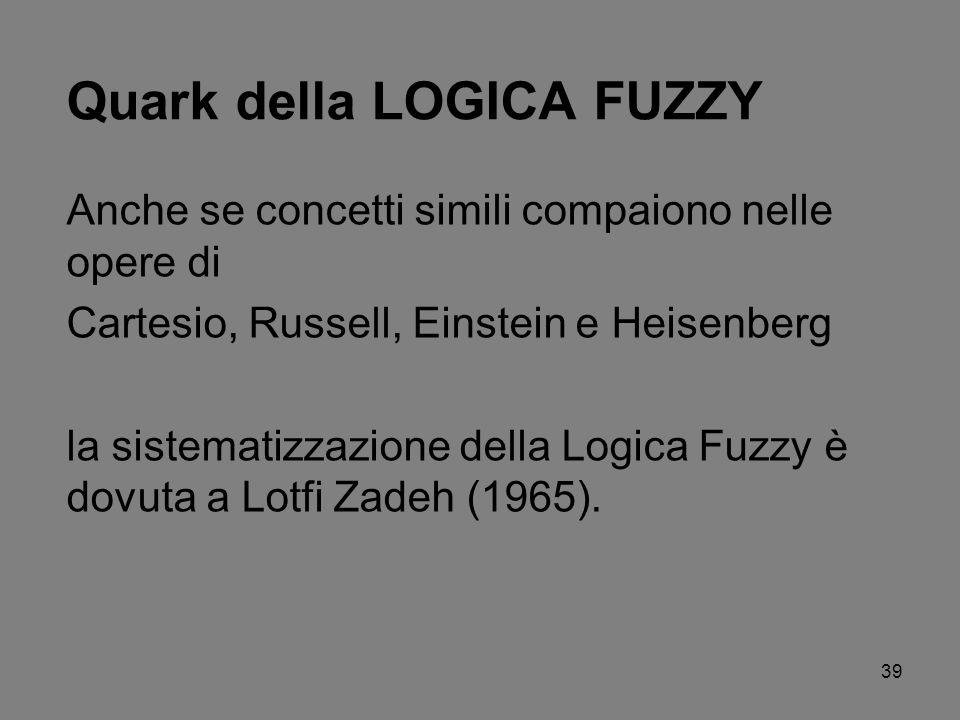 39 Quark della LOGICA FUZZY Anche se concetti simili compaiono nelle opere di Cartesio, Russell, Einstein e Heisenberg la sistematizzazione della Logi