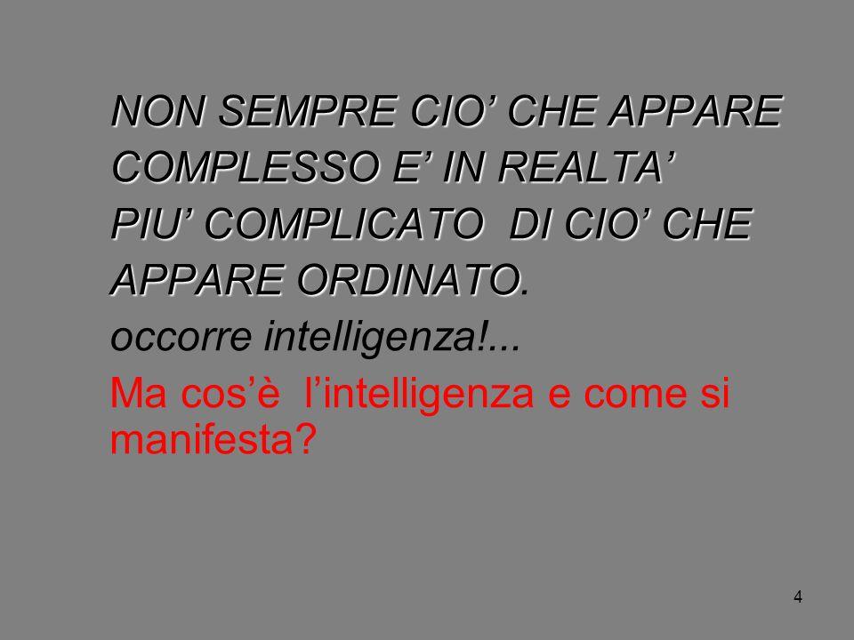 4 NON SEMPRE CIO CHE APPARE COMPLESSO E IN REALTA PIU COMPLICATO DI CIO CHE APPARE ORDINATO APPARE ORDINATO. occorre intelligenza!... Ma cosè lintelli