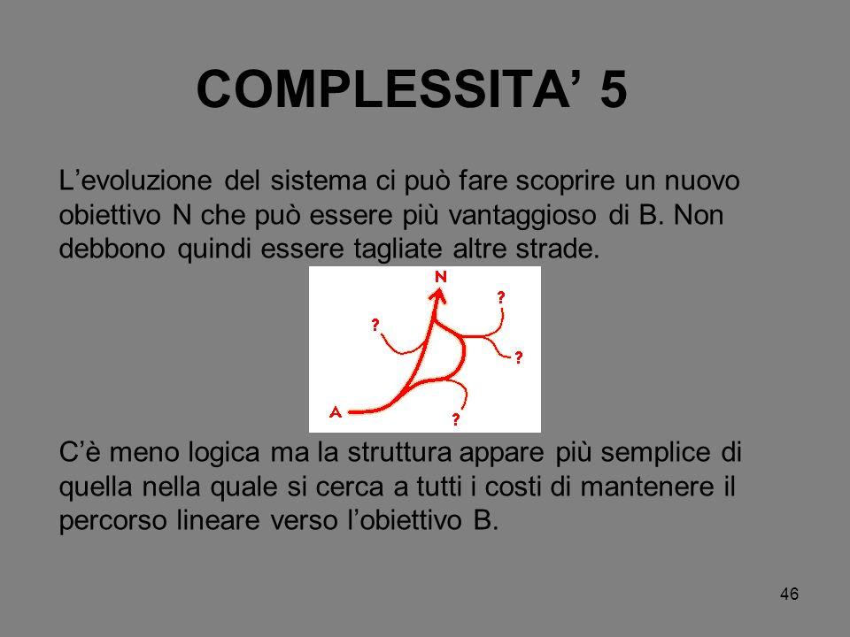 46 COMPLESSITA 5 Levoluzione del sistema ci può fare scoprire un nuovo obiettivo N che può essere più vantaggioso di B. Non debbono quindi essere tagl