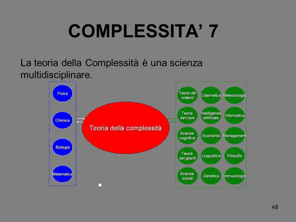 48 COMPLESSITA 7 La teoria della Complessità è una scienza multidisciplinare.