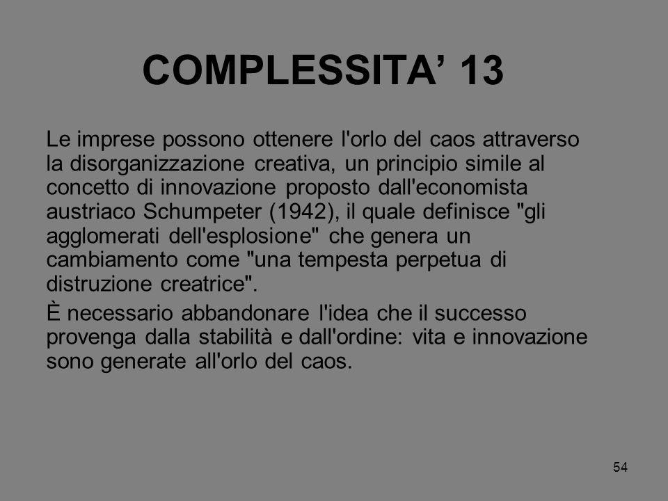 54 COMPLESSITA 13 Le imprese possono ottenere l'orlo del caos attraverso la disorganizzazione creativa, un principio simile al concetto di innovazione