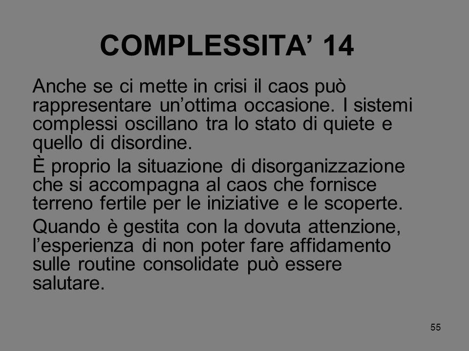 55 COMPLESSITA 14 Anche se ci mette in crisi il caos può rappresentare unottima occasione. I sistemi complessi oscillano tra lo stato di quiete e quel