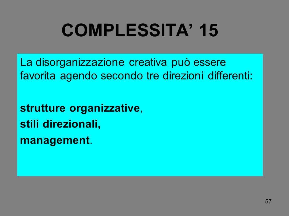 57 COMPLESSITA 15 La disorganizzazione creativa può essere favorita agendo secondo tre direzioni differenti: strutture organizzative, stili direzional