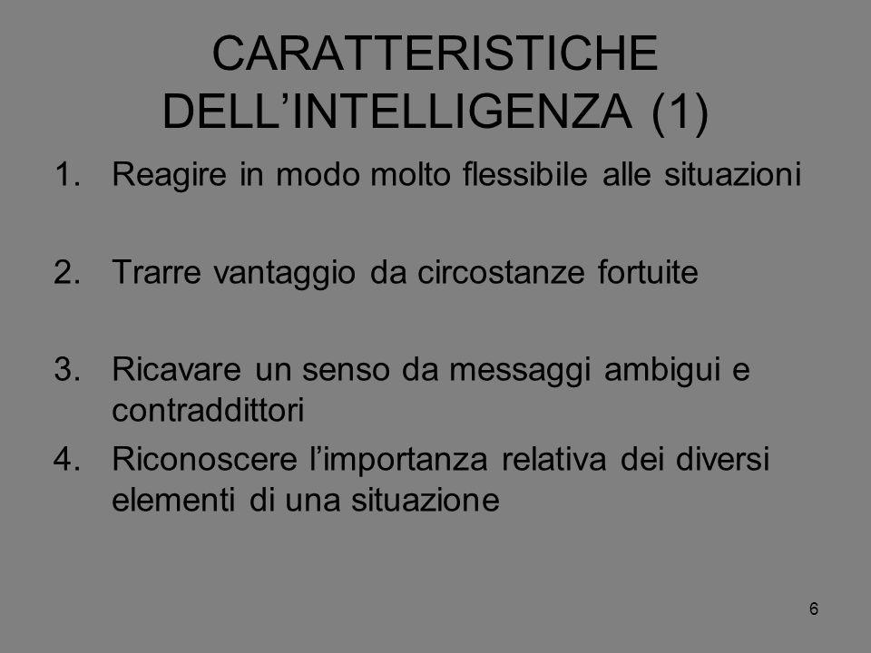 6 CARATTERISTICHE DELLINTELLIGENZA (1) 1.Reagire in modo molto flessibile alle situazioni 2.Trarre vantaggio da circostanze fortuite 3.Ricavare un sen