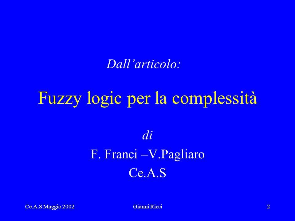 Ce.A.S Maggio 2002Gianni Ricci2 Fuzzy logic per la complessità di F.