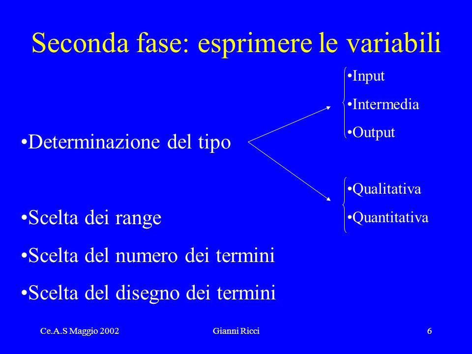 Ce.A.S Maggio 2002Gianni Ricci7 Le variabili utilizzate Inputs
