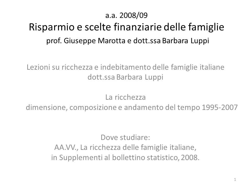La ricchezza delle famiglie italiane 1995 – 2007 SBS, 2008 Dati macro economici; stime e descrizione della metodologia per derivare le diverse componenti Anno 2007 – Ricchezza netta w 8.512 mld di euro – Ricchezza pro- capite wpc143.000 euro w familiare 360.000 euro