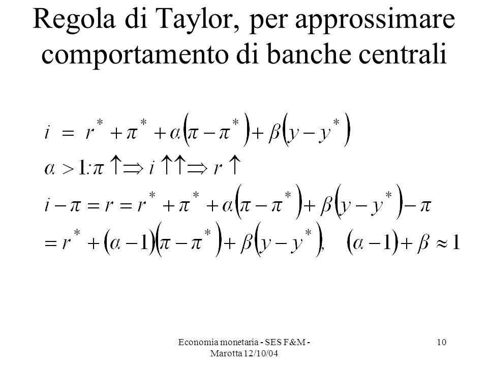 Economia monetaria - SES F&M - Marotta 12/10/04 10 Regola di Taylor, per approssimare comportamento di banche centrali