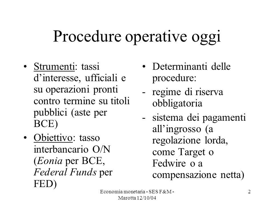 2 Procedure operative oggi Strumenti: tassi dinteresse, ufficiali e su operazioni pronti contro termine su titoli pubblici (aste per BCE) Obiettivo: t