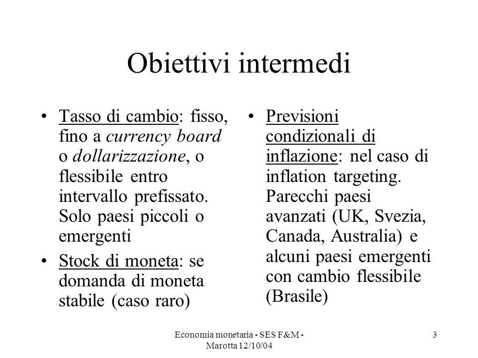 Economia monetaria - SES F&M - Marotta 12/10/04 3 Obiettivi intermedi Tasso di cambio: fisso, fino a currency board o dollarizzazione, o flessibile en