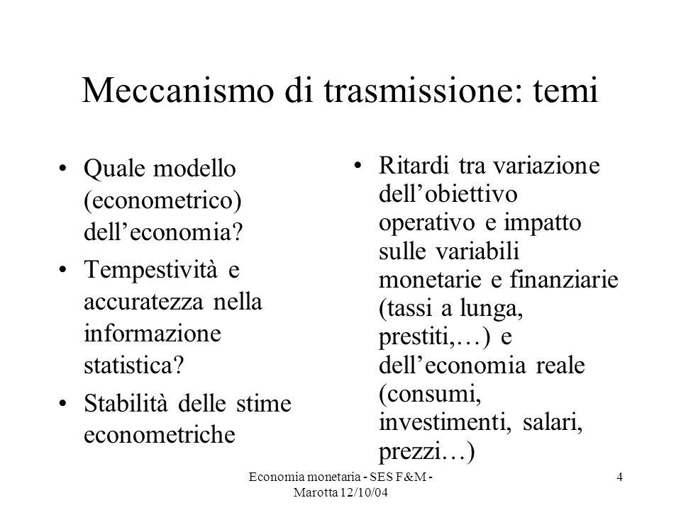 Economia monetaria - SES F&M - Marotta 12/10/04 4 Meccanismo di trasmissione: temi Quale modello (econometrico) delleconomia? Tempestività e accuratez