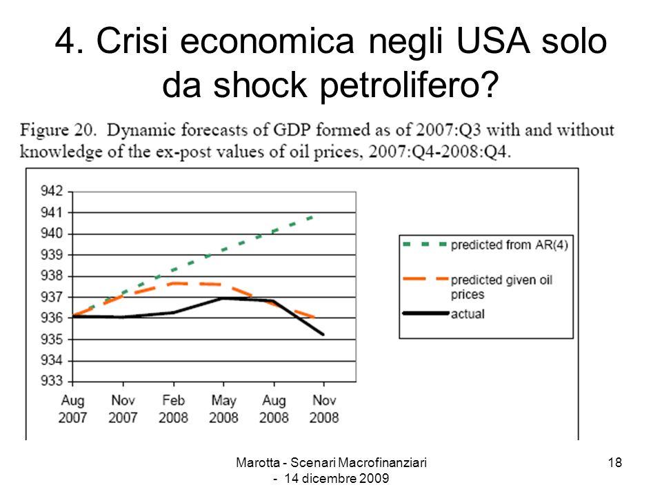 Marotta - Scenari Macrofinanziari - 14 dicembre 2009 18 4. Crisi economica negli USA solo da shock petrolifero?