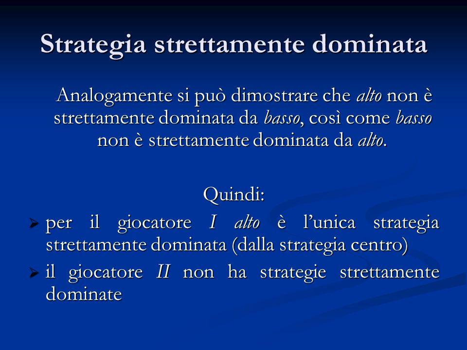 Strategia strettamente dominata Analogamente si può dimostrare che alto non è strettamente dominata da basso, così come basso non è strettamente domin