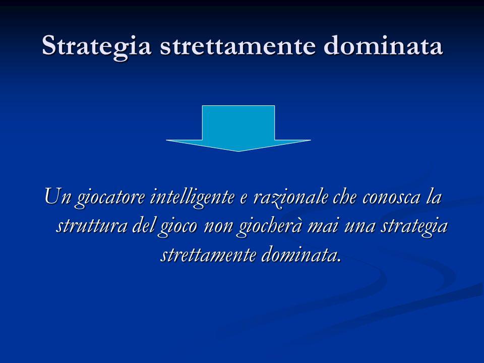 Strategia strettamente dominata Un giocatore intelligente e razionale che conosca la struttura del gioco non giocherà mai una strategia strettamente d