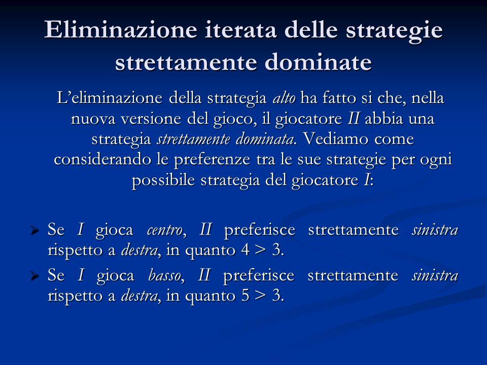 Eliminazione iterata delle strategie strettamente dominate Leliminazione della strategia alto ha fatto si che, nella nuova versione del gioco, il gioc