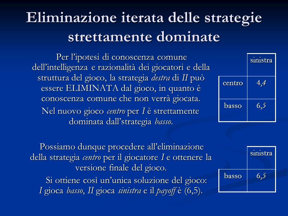 Eliminazione iterata delle strategie strettamente dominate Per lipotesi di conoscenza comune dellintelligenza e razionalità dei giocatori e della stru