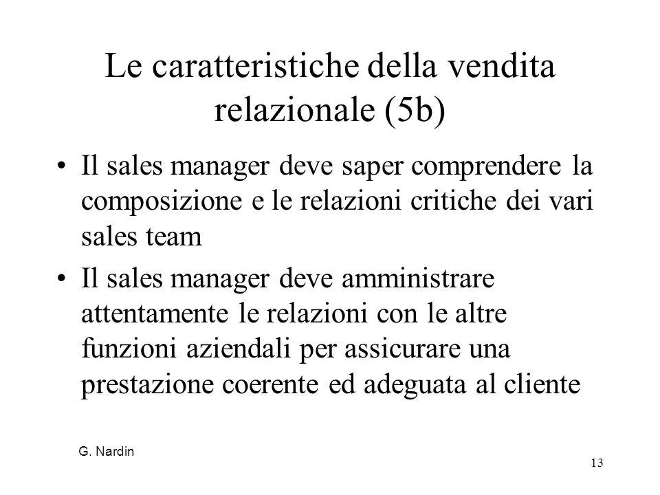13 Le caratteristiche della vendita relazionale (5b) Il sales manager deve saper comprendere la composizione e le relazioni critiche dei vari sales te