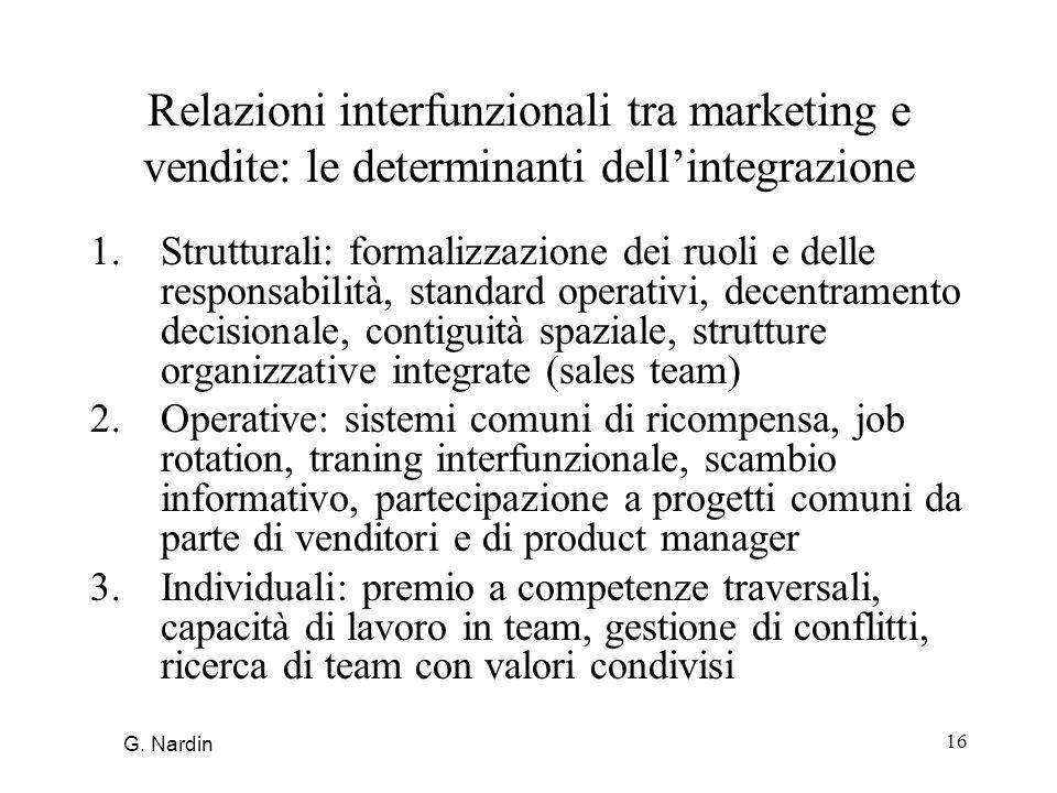 16 Relazioni interfunzionali tra marketing e vendite: le determinanti dellintegrazione 1.Strutturali: formalizzazione dei ruoli e delle responsabilità