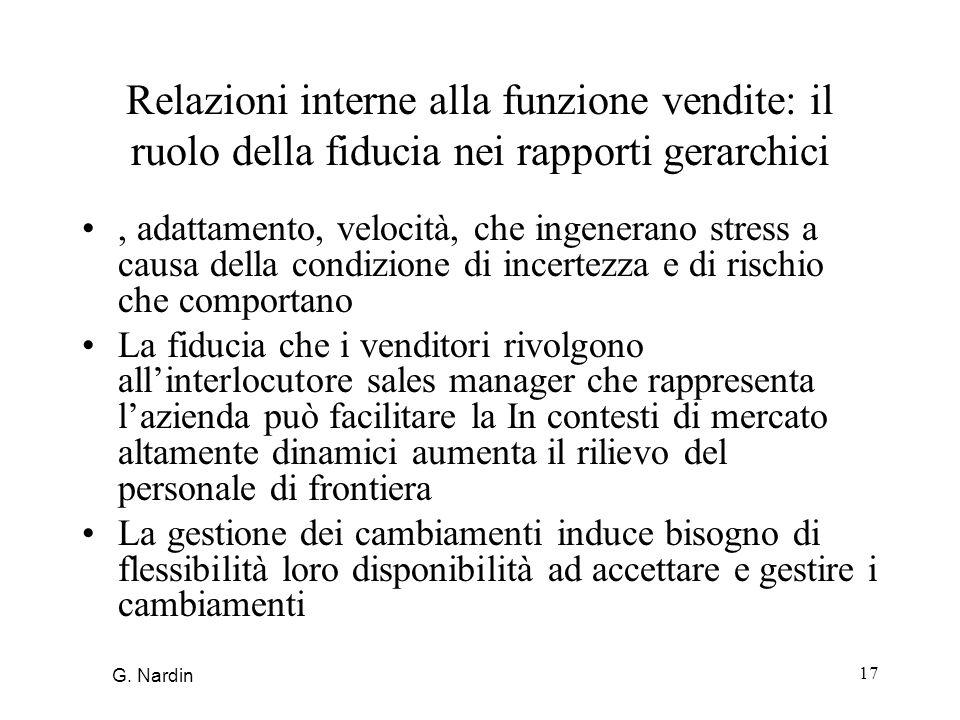 17 Relazioni interne alla funzione vendite: il ruolo della fiducia nei rapporti gerarchici, adattamento, velocità, che ingenerano stress a causa della