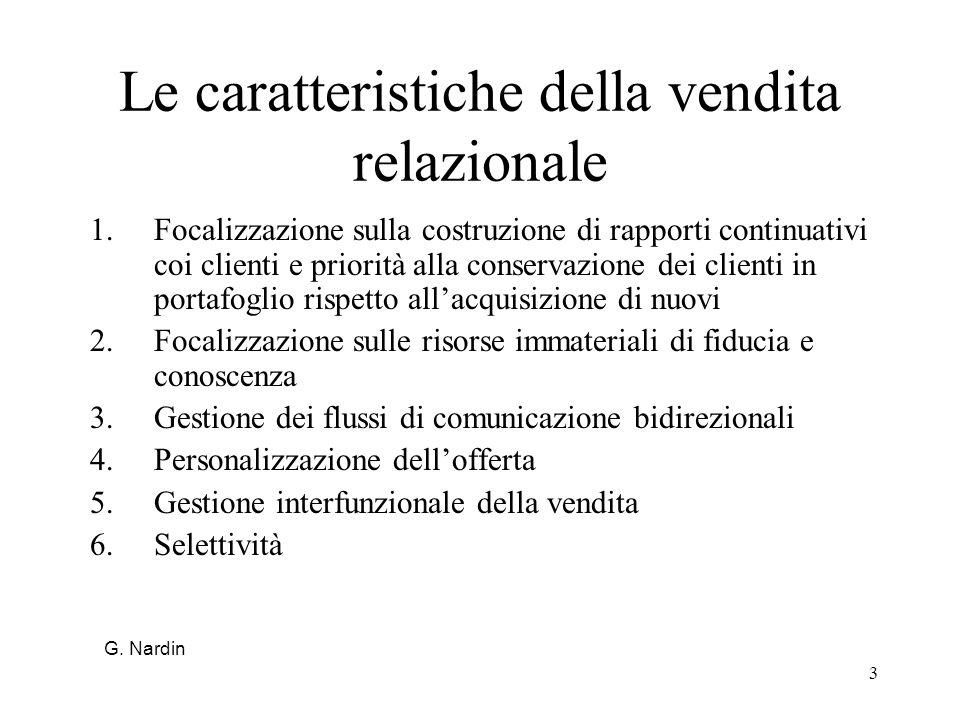 3 Le caratteristiche della vendita relazionale 1.Focalizzazione sulla costruzione di rapporti continuativi coi clienti e priorità alla conservazione d