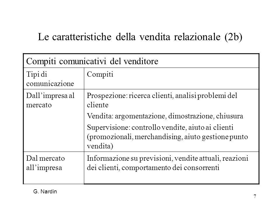 7 Le caratteristiche della vendita relazionale (2b) Compiti comunicativi del venditore Tipi di comunicazione Compiti Dallimpresa al mercato Prospezion