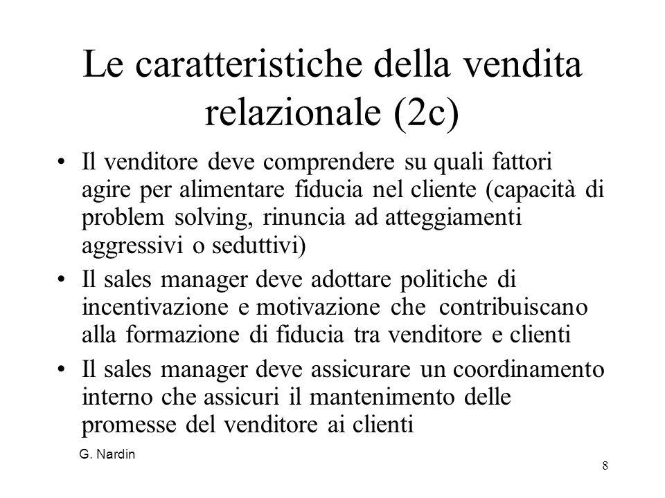 8 Le caratteristiche della vendita relazionale (2c) Il venditore deve comprendere su quali fattori agire per alimentare fiducia nel cliente (capacità