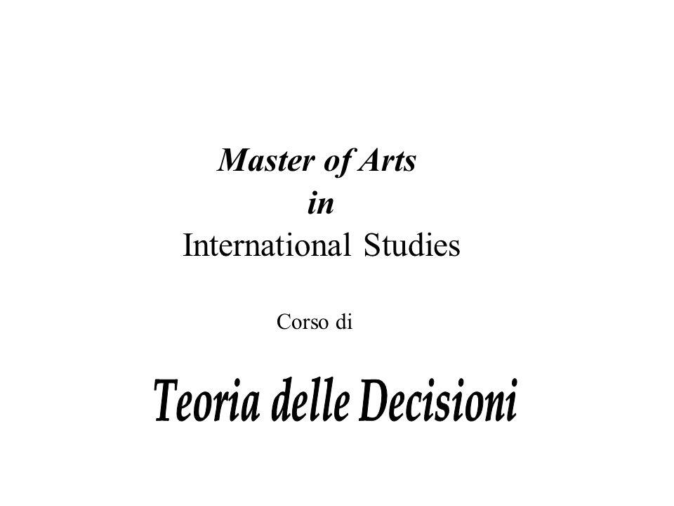 Master of Arts in International Studies Corso di