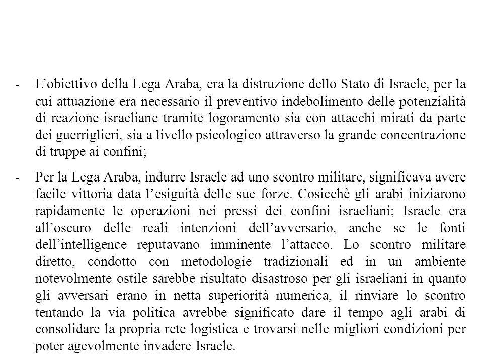 -lo Stato di Israele (sostenuto militarmente anche da truppe francesi e inglesi), costituisce lattore A ; -La Lega Araba costituita da Egitto, Siria e