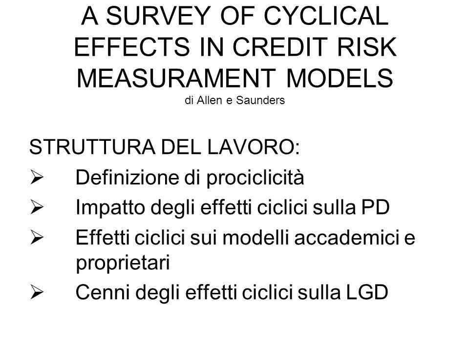 A SURVEY OF CYCLICAL EFFECTS IN CREDIT RISK MEASURAMENT MODELS di Allen e Saunders STRUTTURA DEL LAVORO: Definizione di prociclicità Impatto degli eff