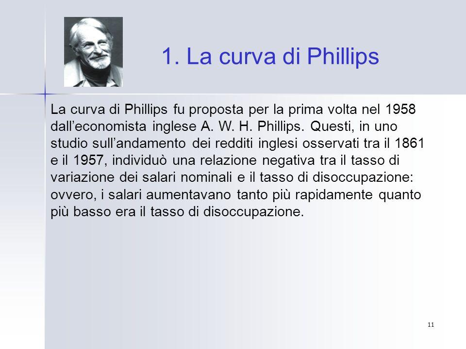 11 1. La curva di Phillips La curva di Phillips fu proposta per la prima volta nel 1958 dalleconomista inglese A. W. H. Phillips. Questi, in uno studi