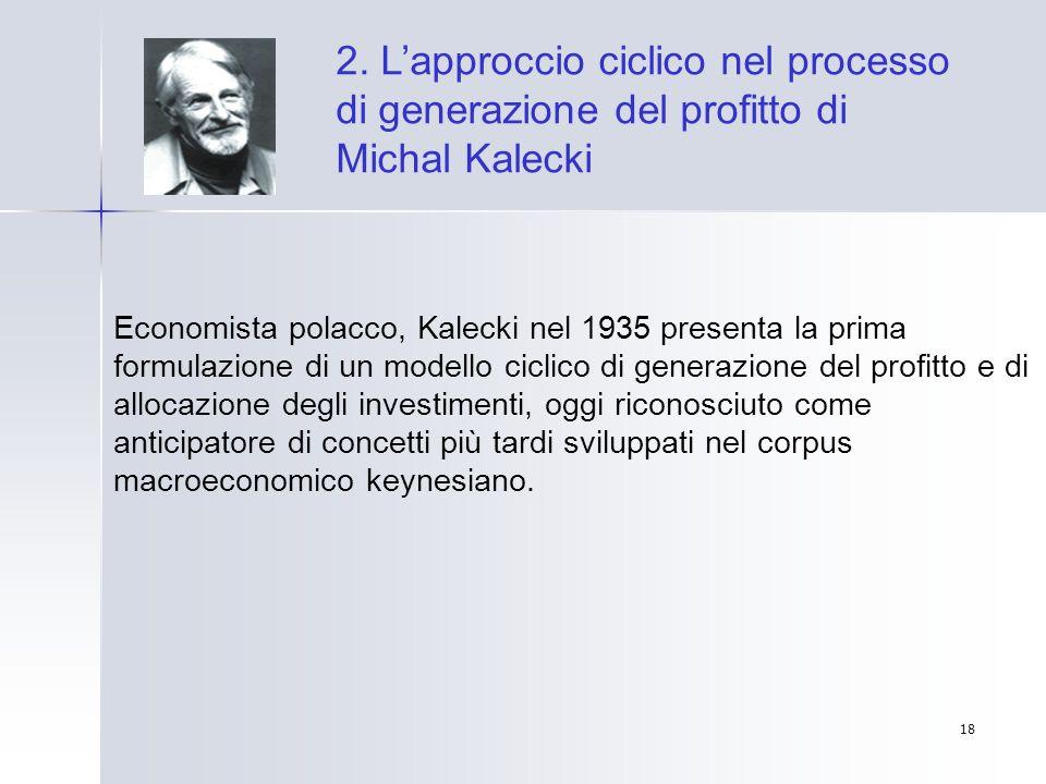 18 2. Lapproccio ciclico nel processo di generazione del profitto di Michal Kalecki Economista polacco, Kalecki nel 1935 presenta la prima formulazion