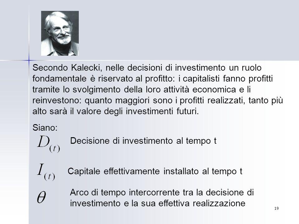 19 Secondo Kalecki, nelle decisioni di investimento un ruolo fondamentale è riservato al profitto: i capitalisti fanno profitti tramite lo svolgimento