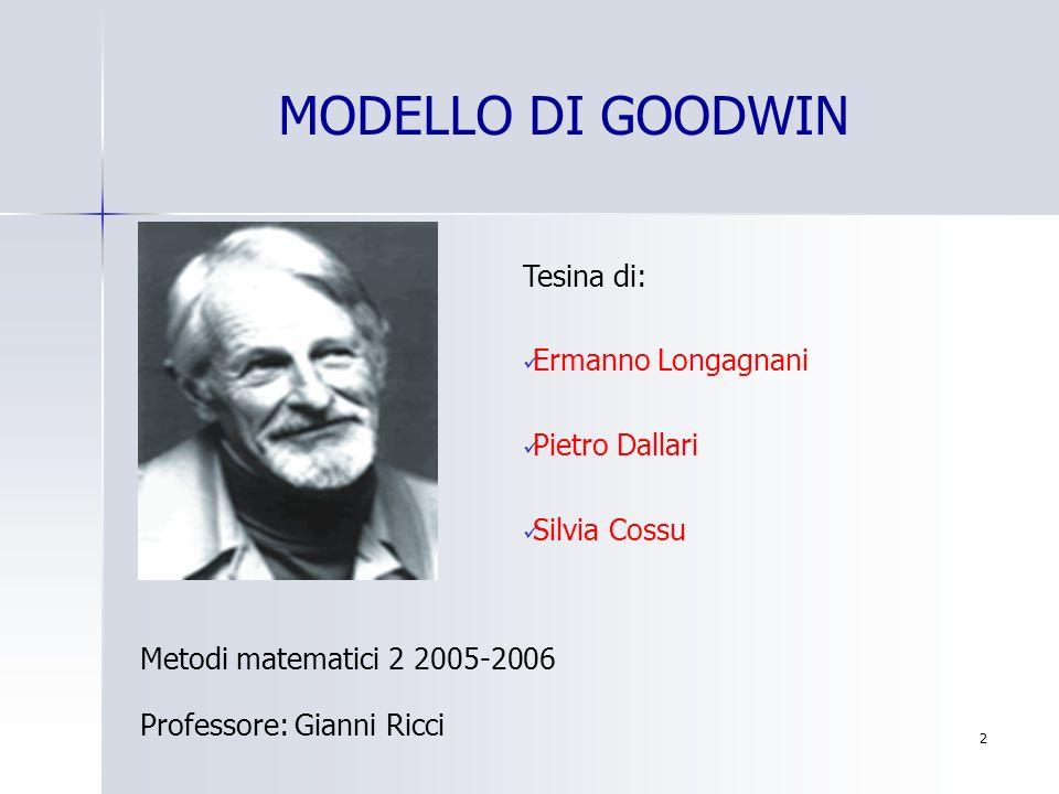 43 u=v; v=u Equazioni di Lotka Volterra Rispetto al modello di Goodwin sono necessarie alcune trasformazioni delle variabili considerate.