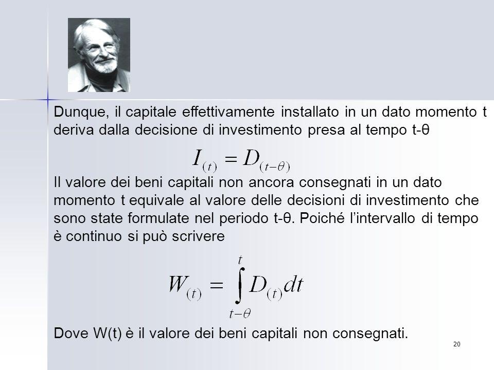 20 Dunque, il capitale effettivamente installato in un dato momento t deriva dalla decisione di investimento presa al tempo t-θ Il valore dei beni cap