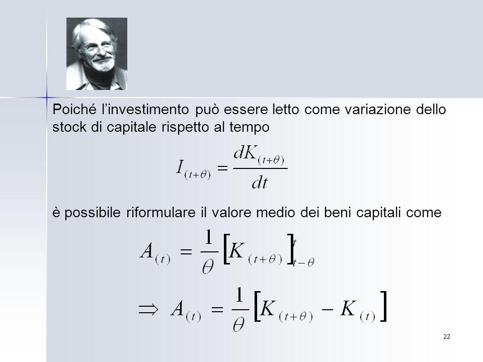 22 Poiché linvestimento può essere letto come variazione dello stock di capitale rispetto al tempo è possibile riformulare il valore medio dei beni ca